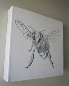How To Draw Canvas Honey Bee Original Drawing On Canvas Felt