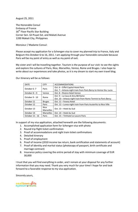 Cover Letter Embassy Position Sle Cover Letter For Schengen Visa Application At The Embassy