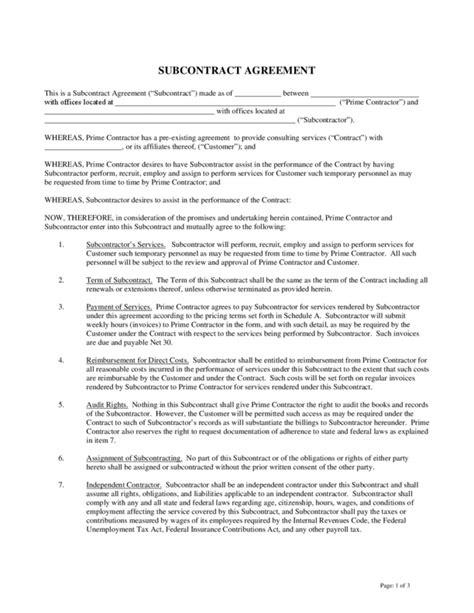 subcontractor template free subcontractor agreement 1 legalforms org