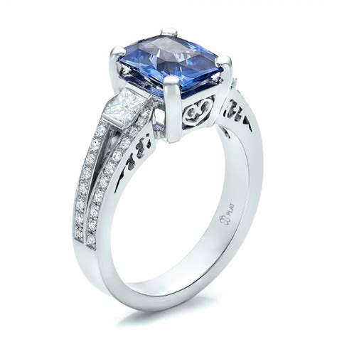 custom blue sapphire and engagement ring 100703