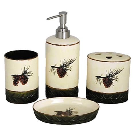 pinecone bathroom accessories pine cones ceramic bath accessories set