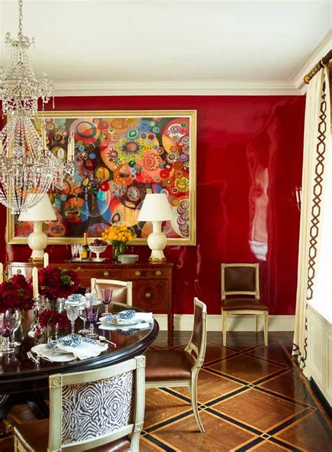 red dining room walls luscious lacquered surfaces paint pattern