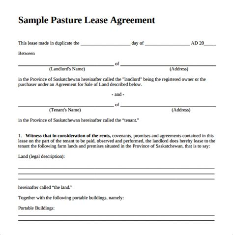 10 Pasture Lease Agreement Templates Download For Free Sle Templates Grazing Lease Agreement Template