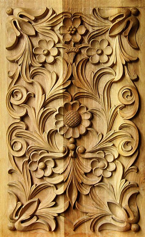 wood carving traditional bulgarian art rectangular panel 2