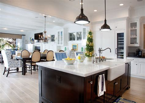 open plan kitchen flooring ideas small family house with coastal interiors