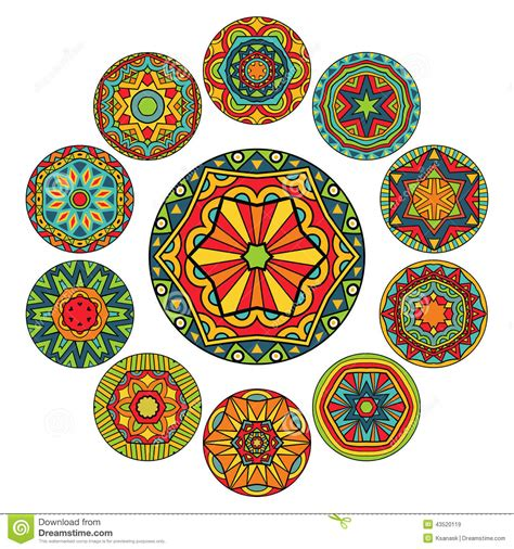 pattern art circle set of round ethnic patterns stock vector image 43520119