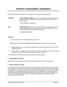property manager agreement template property management agreement template sle form