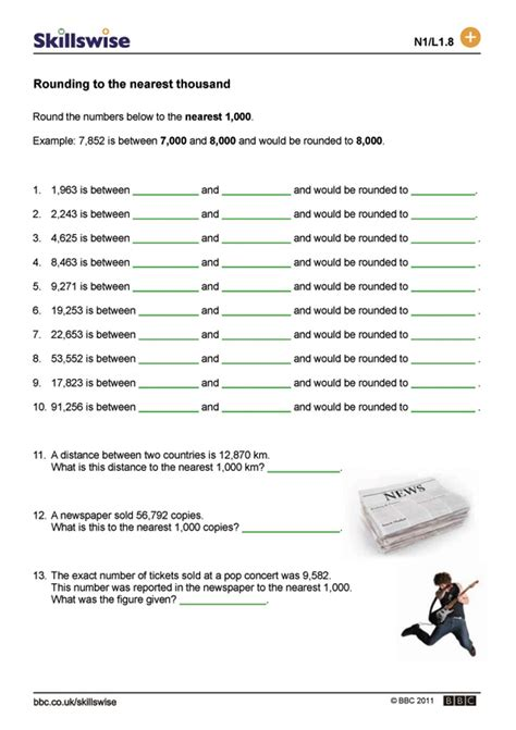 Rounding Numbers Worksheets by Rounding To The Nearest Ten Thousand Worksheet
