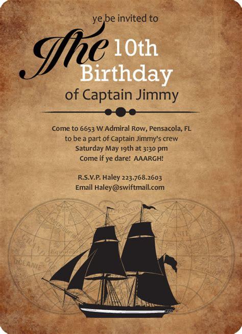 ship birthday invitations boys birthday invitations pirate ship sailing