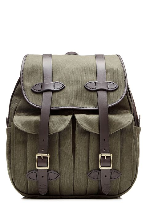 Plaid Buckled Backpack lyst filson twill backpack with leather green in green