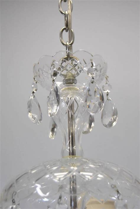 Vintage Cut Glass Crystal Chandelier With Five Arms Antique Glass Chandelier
