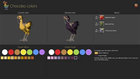 chocobo colors ffxiv chocobo color for windows 8 and 8 1