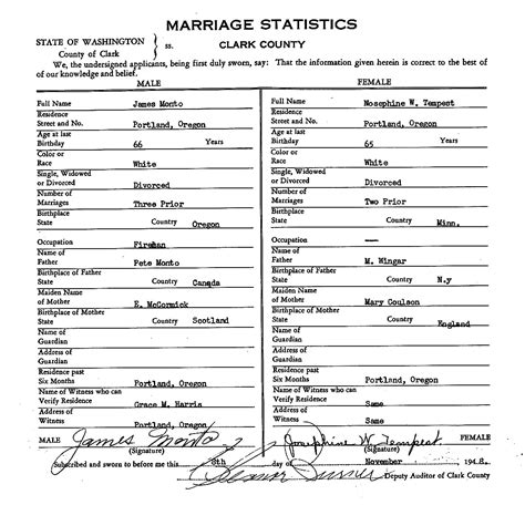 Vancouver Marriage Records Edward Norman Tempest