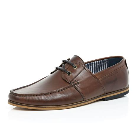 river island brown leather lace up boat shoes in brown for