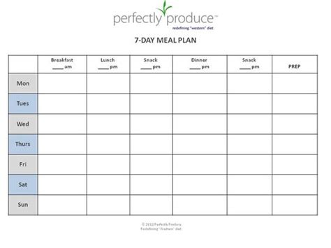 Free 7 Day Meal Planning Template Quot Always Be Prepared For Your Next Meal Before It S Time To Precision Nutrition Meal Plan Template