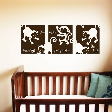 Removable Nursery Wall Decals Monkey Wall Decals 3 Panels 36x13 Nursery Removable