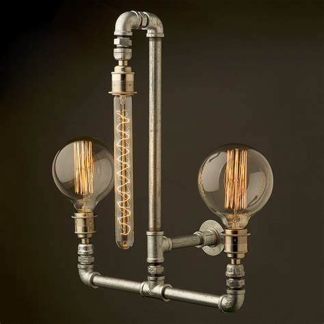 Three Bulb Lamp by Plumbing Pipe Wall Lamp E27 And 3 Bulbs