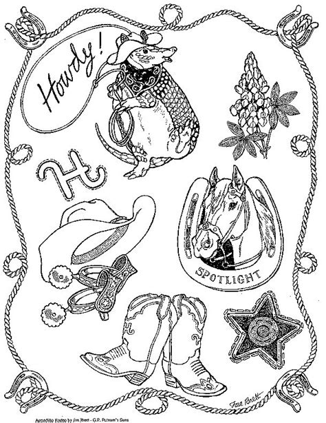 preschool rodeo coloring pages freebie coloring page for quot armadillo rodeo quot by jan brett