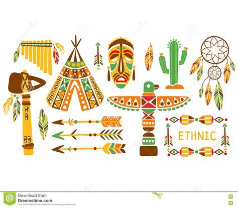 american indian ethnic elements boho style design set
