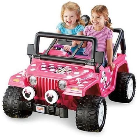 pink kids jeep minnie mouse jeep girls kids pink 12v battery powered ride