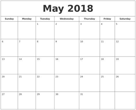printable calendar may 2018 may 2018 printable calendar