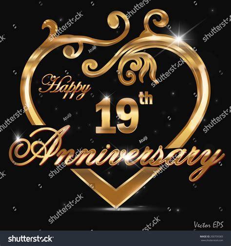 19 Year Anniversary Golden Heart 19th Stock Vector