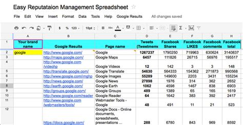 Spreadsheet Tools by The Easiest Reputation Management Tool Spreadsheet