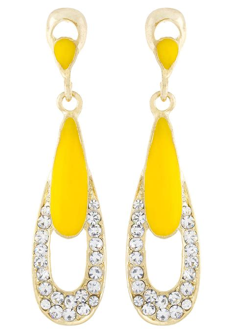 Fashion Earrings E21256 Yellow studded earring in yellow jts387