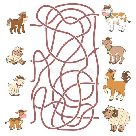 Maze Puzzle Parents Of The Animal maze help the find their parents farm animals stock vector illustration of