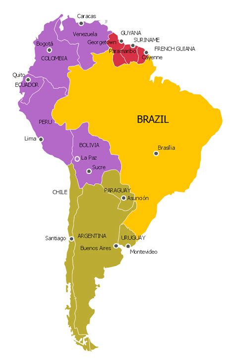 political map of south america south america regions political map