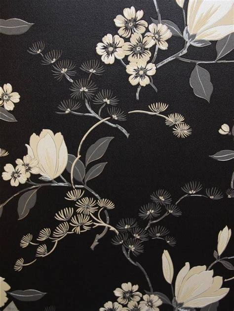flower pattern on black background black floral oriental cushion vinyl wallpaper 822526