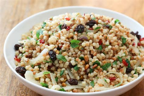 warm cauliflower israeli couscous salad recipe dishmaps