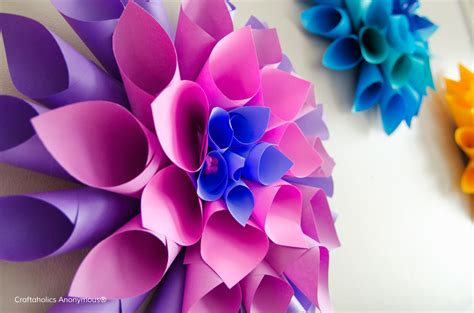 flower design using colored paper craftaholics anonymous 174 rainbow paper dahlia flowers