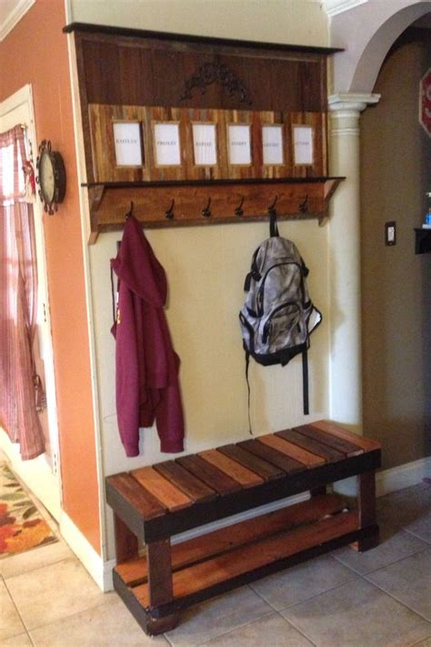 pallet bench with storage and shoe rack coat rack bench pallet coat rack and bench jen bubba projects