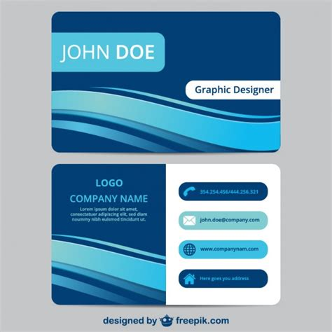 Blue Business Card Template Free by Blue Business Card Template Vector Free