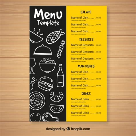 fast food menu template vector free download
