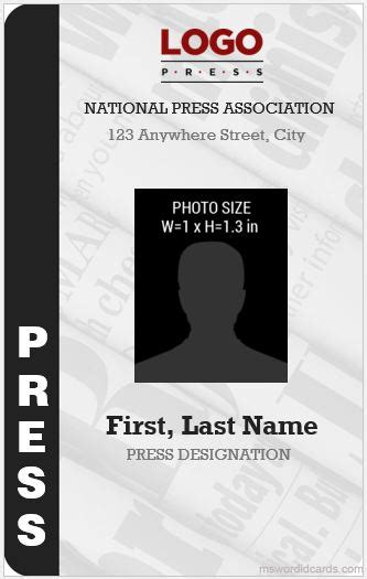 press card template 10 best press reporter id card templates microsoft word