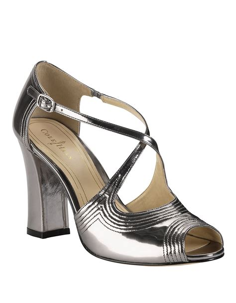 cole haan high heels cole haan jovie metallic leather high heel sandals in