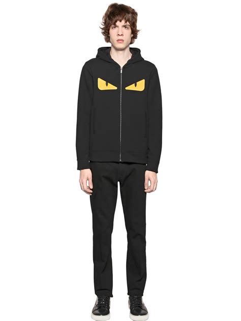 Kaos Fendi Eye fendi hooded zip up sweatshirt in black for