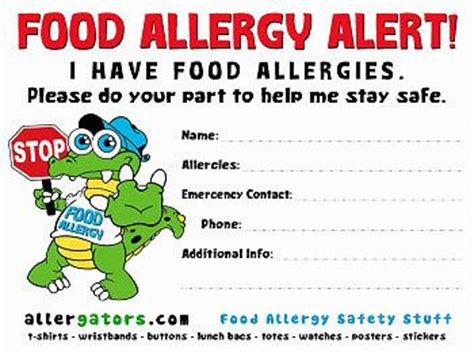 food allergy card template for children the world s catalog of ideas