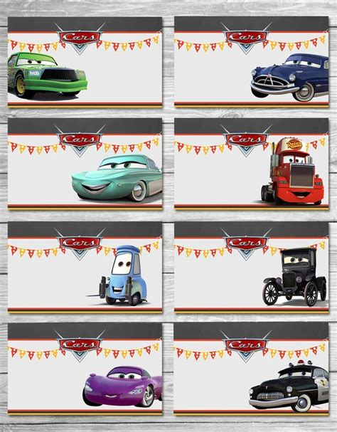 Disney Cars Food Tents Chalkboard Set 2 Cars Food Labels Auto Labels Templates
