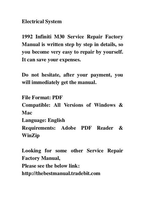 online auto repair manual 1992 infiniti m parking system 1992 infiniti m30 service repair factory manual instant download