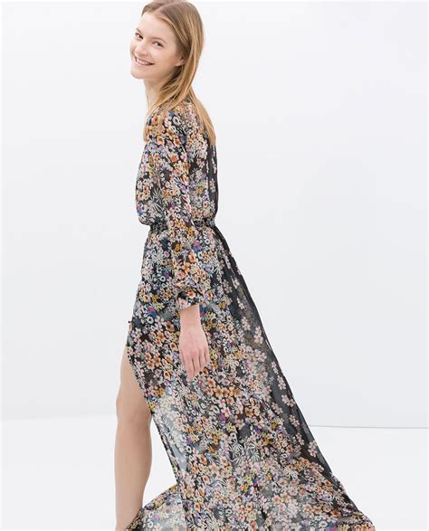 Zara Trafaluc Green Flower Dress image 2 of printed sleeve maxi dress from zara
