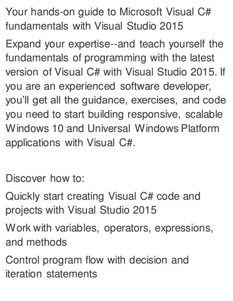 Microsoft Visual C# Step By Step 8th Edition Download