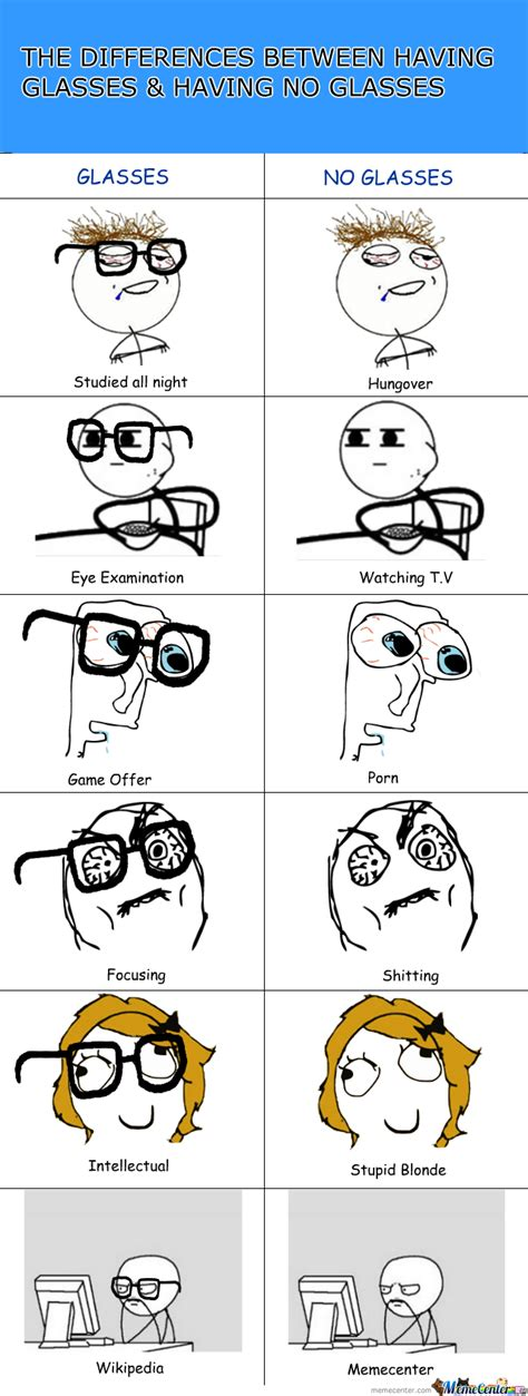 Glasses Meme - difference between glasses no glasses by fritz97 meme