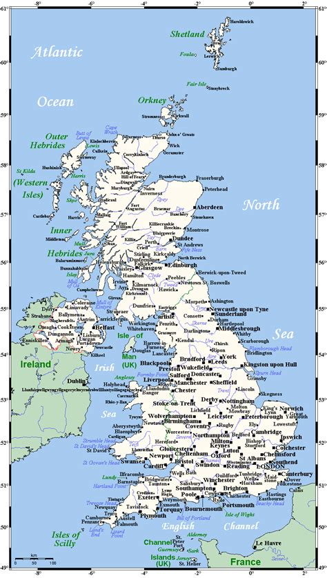 map of the united kingdom with major cities map of with all the cities
