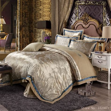 silk bed set european style mulberry silk bed linen set jacquard satin