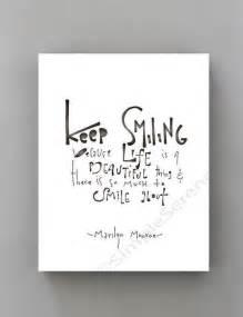 Keep Smiling White keep smiling marilyn black and white print