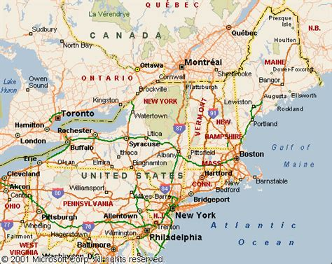 map of east coast usa and canada frame main htm