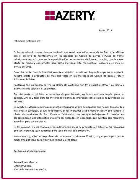 carta de oferta de nuestros productos carta a distribuidores azerty esemanal noticias canal